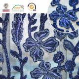Escuro - tela delicada azul do laço do teste padrão de flor do bordado, o projeto o mais novo e Sell quente C10037