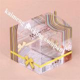 Профессиональный любимчик ясности поставкы фабрики складывая пластичную коробку торта с комплексным конструированием подарка (коробка торта)