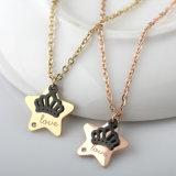 Moda de cinco puntas de la estrella 316L joyería 18k collar de oro con diamante