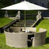 ブラウン大きい食事表の庭の屋外の家具の枝編み細工品または藤椅子および表セット