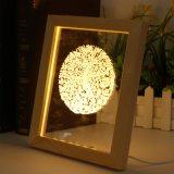 Lámpara de vector de la luz de la noche del LED Rose en el marco de madera