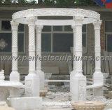 Каменный мраморный Gazebo сада с верхней частью чугуна (GR034)