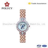 La montre de quartz de robe de 2016 de Genève de marque d'acier inoxydable de Madame montre de femmes la plus neuve montres de Rhinestone
