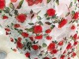 La mano fa il tessuto del merletto della rete di arrivo di Newet del ricamo di 3 D Rosa per il vestito
