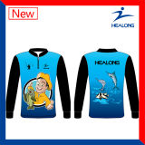 As engrenagens de pesca feitas sob encomenda baratas do Sublimation do Mens desgastam a camisola das camisas