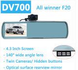 Gravador de vídeo duplo Dashcam do carro DVR da câmera do espelho de Rearview da lente