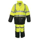 蛍光緑PUのオートバイ雨ギヤジャケットのコートのRainwear