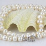 venta al por mayor única anudada blanca de la joyería del collar de la perla de la talla grande de 11-12m m