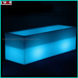 Plastic LED Illuminated Nightclub Furniture Glowing Long Cube Planter Ice Bucket
