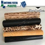 단화 갑피를 위한 고품질 직물 곡물 PVC 합성 가죽