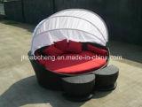 Base redonda do jardim ao ar livre do Rattan do PE com assento para pés