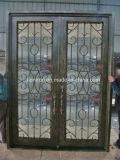 Двойная дверь ковки чугуна высокого качества с квадратной верхней частью