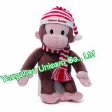 Brinquedo macio do luxuoso do macaco do tampão do chapéu do Natal do animal enchido