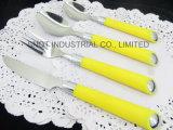De plastic Reeks van het Bestek van de Lepel van het Roestvrij staal van het Handvat