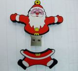 Presente do Natal e movimentação encantadora do flash do USB do PVC de Papai Noel (OM-P145)