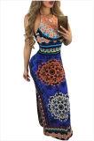 Африканская картина низко подпирает Halter макси Dress&Nbsp; &Nbsp;