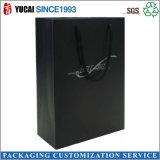 Bolso de compras negro de lujo de la bolsa de papel