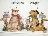 Regalo pigro basato di legno della famiglia di cane e del gatto, decorazione 2asst-Christmas