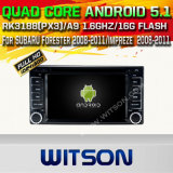 Carro DVD GPS do Android 5.1 de Witson para o Forester 2008-2011/Impreze 2008-2011 de Subaru com sustentação do Internet DVR da ROM WiFi 3G do chipset 1080P 16g (A5504)