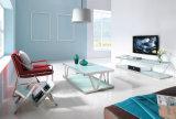 현대 거실 원형 다리를 가진 유리제 최고 스테인리스 작은 테이블