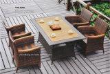 Tabela de jantar ao ar livre do Rattan do quadrado da mobília, mobília ao ar livre de vime