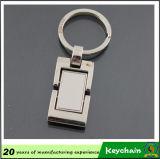Metal cuadrado en blanco clásico Keychain