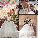 O tampão luxuoso árabe dos vestidos de casamento Sleeves o laço que perla os vestidos nupciais G1721