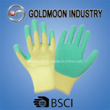 10g 5 Threads Yellow Liner Green Latex Gloves