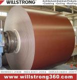 De Rol van het Aluminium van de rode Kleur met Deklaag PVDF