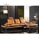 Il sofà moderno del cuoio del salone ha impostato con il poggiacapo e la parte posteriore mobili (836)