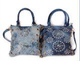 Sacos de ombro das meninas de faculdade/saco Sh-16031141 das meninas ombro da sarja de Nimes