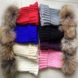 卸し売り毛皮の球POM POMのウールによって編まれる帽子の帽子の女性の冬の帽子