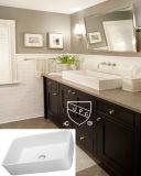 Раковина искусствоа фарфора встречной верхней части ванной комнаты прямоугольная без отверстия Faucet (SN106-009A)