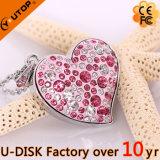 USB de cristal da jóia da movimentação do flash do diamante do pendente do coração da cor-de-rosa quente (YT-6263)