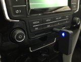Las manos liberan el adaptador del coche de Bluetooth