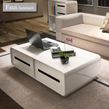 MDF 거실 Furniture Coffee Table Set를 가진 백색 Tempered Glass