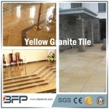 Telha de assoalho amarela de pedra natural do granito para o revestimento lustrado chinês