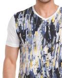 T-shirts de collet du V estampés par coton des hommes faits sur commande