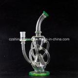 Amerikanisches Farben-Recycler-Kreuz Difusser Glas-rauchendes Wasser-Rohr Czs031