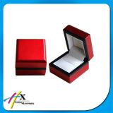 Material de madera de encargo terciopelo insertar anillo joyas caja de embalaje