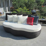 屋外の家具のブラウンの藤のソファーベッド