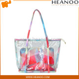 착색한 형식 유행 바닷가 핸드백 Sealable 플라스틱 어깨에 매는 가방을 지우십시오