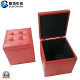 Caixa de madeira de couro do plutônio do vermelho moderno (SCOM00006)