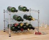 Présentoir réglable de bouteille de vin en métal de fil de chrome de DIY