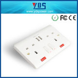 USB Wall Socket del Regno Unito con il LED Light Switch