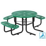 """46の"""" Adaの円形の拡大された金属のピクニック用のテーブルの上および3つのベンチシート"""