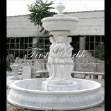 花こう岩の庭白のカラーラの大理石の石造りの噴水Mf1024