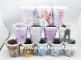 Taza de la porcelana con los diseños interior y exterior para hacer publicidad de la promoción