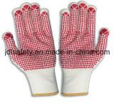 Le gant de tricotage de machine en nylon avec le PVC pointille la paume (S5103)