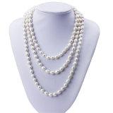 Snh 8 mm de arroz de un grado largo collar de perlas de joyería para las mujeres